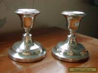 Antique Silver Hall Marked Desk Candlesticks x 2