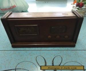 vintage retro wooden cigarette case dspenser in the shape of a radio treen for Sale