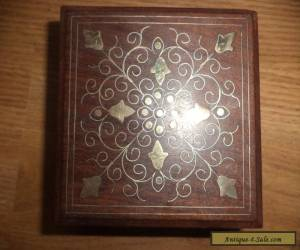 inlaid brass on  wooden box   for Sale