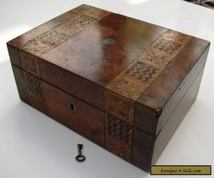 Vintage Lockable Inlaid Wooden Box with it's Key for Sale