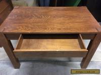 Vintage Oak Library Table with Drawer