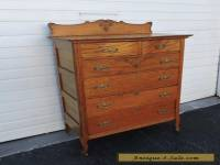 Tall Early 1900s Victorian Oak Chest of Drawers with Key 7686