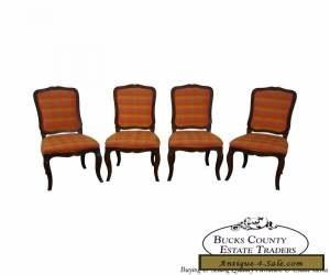 Set of 4 Vintage French Country Oak Dining Chairs by Baker for Sale