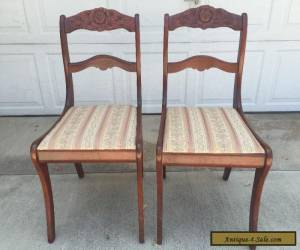 Antique Rose Carved Back Mahogany Wooden Victorian Dining Chairs Set of 2 for Sale