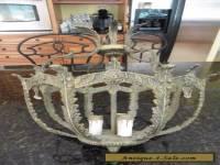 Vintage cast brass chandelier hanging lamp fixture Antique Victorian crystals