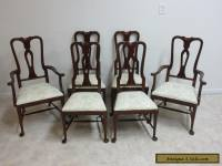 Vintage Mahogany Carved Queen Anne Dining Room Side Arm Chairs Set