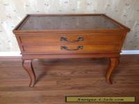 Vintage French Country Glass Covered Leather Top End Table with Deep Drawer
