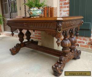 Antique FRENCH Victorian Carved Tiger Oak Dolphin Table Desk Renaissance Gothic for Sale