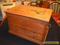 Antique Oak Hand Made Raised Panel Watch Maker's Cabinet