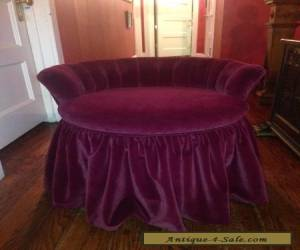Antique / Vintage Revolving French Style Vanity Chair Bench Recovered In Velvet for Sale