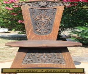 ANTIQUE AMERICAN ARTS AND CRAFTS CARVED OAK HALL CHAIR for Sale