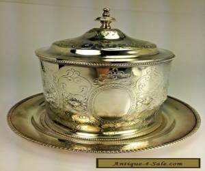 ANTIQUE ENGLISH  VICTORIAN SILVER PLATED BISCUIT BARREL WITH UNDERPLATE for Sale