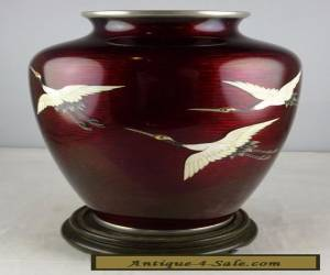 Ando Cloisonne Vase - Birds - Oxblood Ground - Signed for Sale