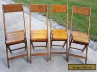 VINTAGE ANTIQUE SNYDER WOODEN FOLDING CHAIRS SET OF 4