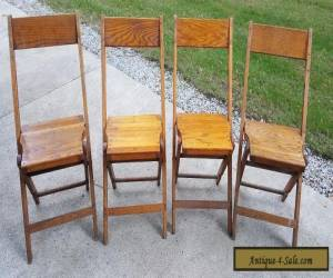 VINTAGE ANTIQUE SNYDER WOODEN FOLDING CHAIRS SET OF 4  for Sale