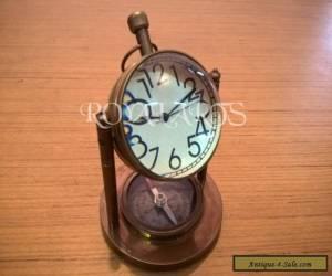 Antique Vintage Brass Desk Clock With Compass Vintage Collectible Decor for Sale