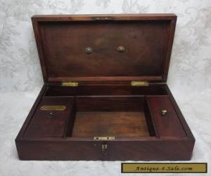 Antique 19th Century Mahogany Document Box Working Lock And Key for Sale