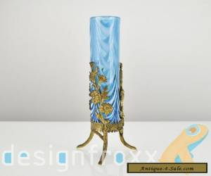 Antique French Art Nouveau Art Glass Vase with Floral Ormolu Mounting by Legras for Sale