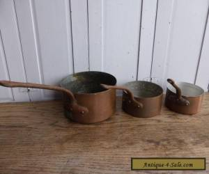 Set of 3 antique French copper saucepans for Sale