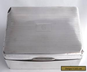 Large Vintage Sterling Silver Cigarette Box/Humidor - Wood Lined - Hallmarked for Sale