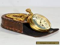 BRASS POCKET WATCH LEATHER BOX BRASS CLOCK GIFT VINTAGE STYLE CLOCK TIMEKEEPER