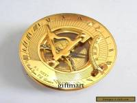 Nautical Brass Sundial Compass, Antique Brass Vintage Camping Hiking Compass