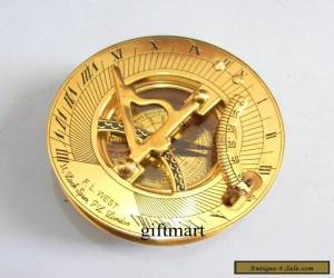 Nautical Brass Sundial Compass, Antique Brass Vintage Camping Hiking Compass for Sale