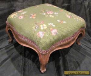 Antique Victorian Needlepoint Foot Stool with Carved Wood Legs Footstool for Sale