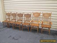56040 Set 6 Oak Pressed Back Dining Room Chairs Chair s
