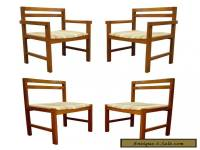 Set of 4 Vintage Mid Century Danish Modern Solid Teak Square Dining Room Chairs