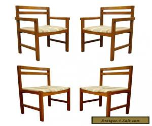 Set of 4 Vintage Mid Century Danish Modern Solid Teak Square Dining Room Chairs for Sale