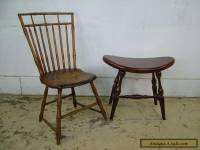 Vintage Solid Mahogany Duckloe Bros Antique Style Vanity Bench Chair Foot Stool
