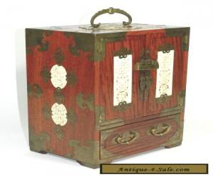 Vintage Chinese Wood Brass Jade Jewelry Chest Box for Sale