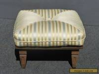 Large Vintage Mid Century Modern Striped Carved Wood FOOTSTOOL Bench  Ottoman