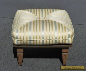 Large Vintage Mid Century Modern Striped Carved Wood FOOTSTOOL Bench  Ottoman for Sale