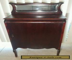 Antique LOCKING Mahogany Sheet Music Cabinet Stand w/ KEY & Beveled Glass Mirror for Sale