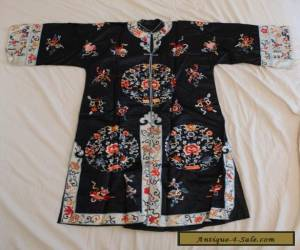 ANTIQUE 19TH CENTURY CHINESE Black SILK HAND STITCHED Embroidered ROBE  for Sale