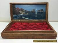 Small Vintage Antique Wooden Wood box With Oil Painting Scotty Dogs