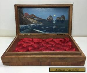 Small Vintage Antique Wooden Wood box With Oil Painting Scotty Dogs for Sale