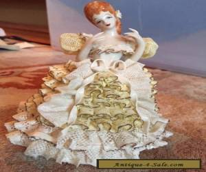 "Vintage Heirlooms Of Tomorrow Porcelain Dresden Lace Figurine Signed ""Nina"" for Sale"