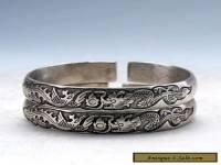 Collectable Tibet Silver Hand Carved Double Dragon Play Bead Bracelet