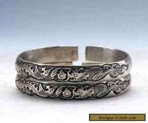 Collectable Tibet Silver Hand Carved Double Dragon Play Bead Bracelet for Sale
