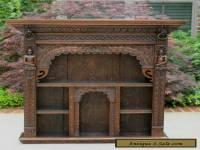 Antique English Oak Gothic Renaissance Wall Shelf Display Cabinet Bookcase LARGE