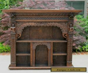 Antique English Oak Gothic Renaissance Wall Shelf Display Cabinet Bookcase LARGE for Sale