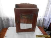 ANTIQUE VINTAGE WOOD MEDICINE CUPBOARD BATHROOM WALL CABINET BEVELED MIRROR