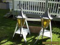 Pair Vintage Gothic(?) Outdoor Lights with hinged tops