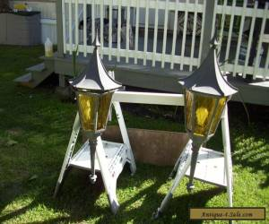 Pair Vintage Gothic(?) Outdoor Lights with hinged tops for Sale