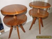 2 BISSMAN Vtg 1950's SIDE TABLES Mid-Century Danish Modern Walnut Wood Furniture