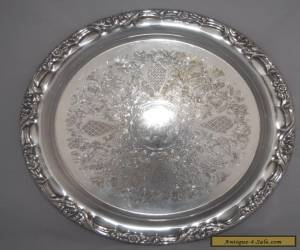 Vintage LUKE Silver Plate Etched Round Tray - 32.5cm for Sale