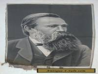 "19c ANTIQUE CHINESE SILK EMBROIDERY OF FRIEDRICH ENGELS ""AS IS"""